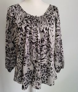 Express gray black leapord tiger button blouse L